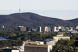 Canberra downtown with view of Telstra Tower in the background.