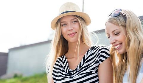 Australian university students in the summer sun.